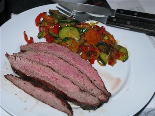 Flanksteak mit Gemüsepfanne