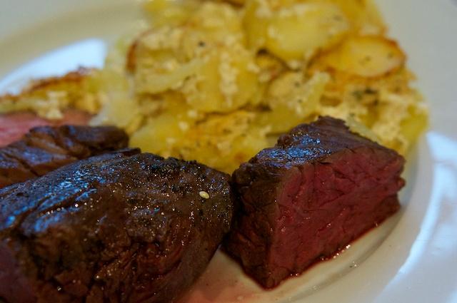 Onglet Sous-Vide mit Kartoffelgratin