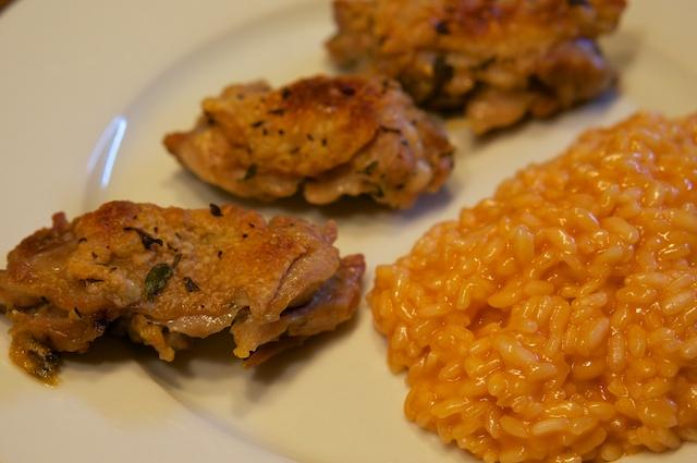 Pollo Fino und Risotto Rosso Piemonteser Art